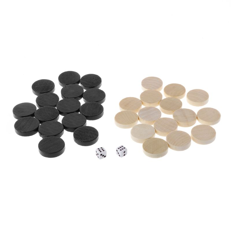 30pcs Wooden Draughts Checkers Backgammon Chess Pieces for Kid Board Game 2 Dice
