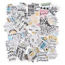 50 pçs frases motivacionais citações adesivos à prova ddiy água para diy portátil skate design diário scrapbooking adesivos