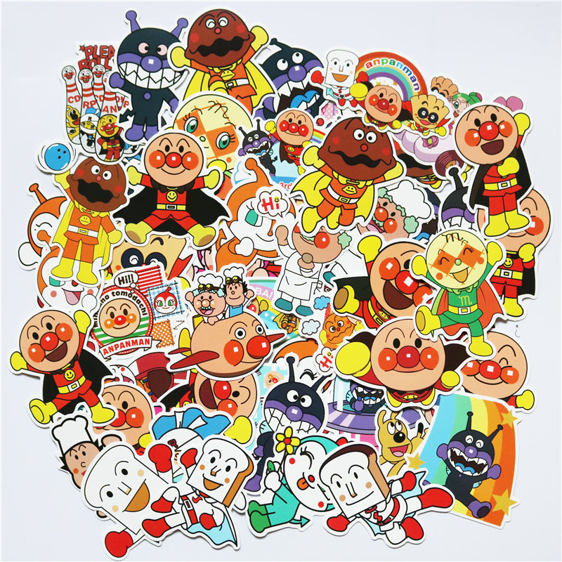TD ZW 57Pcs Cartoon Anpanman Stickers For Suitcase Skateboard Laptop Luggage Fridge Phone Car Styling DIY Decal Sticker