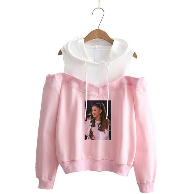 ARIANA GRANDE THEMED OFF-SHOULDER HOODIE
