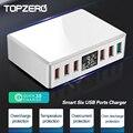 TOPZERO 6 портов QC 3 0 USB зарядное устройство станция 40 Вт ЖК-дисплей быстрое зарядное устройство USB адаптер для iPhone X 11 Pro телефон зарядное устройс...