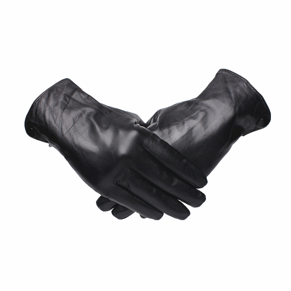 Gours Genuine Leather Gloves For Men Fashion Brand Black Goatskin Finger Button Gloves Driving Warm In Thick Winter New GSM044