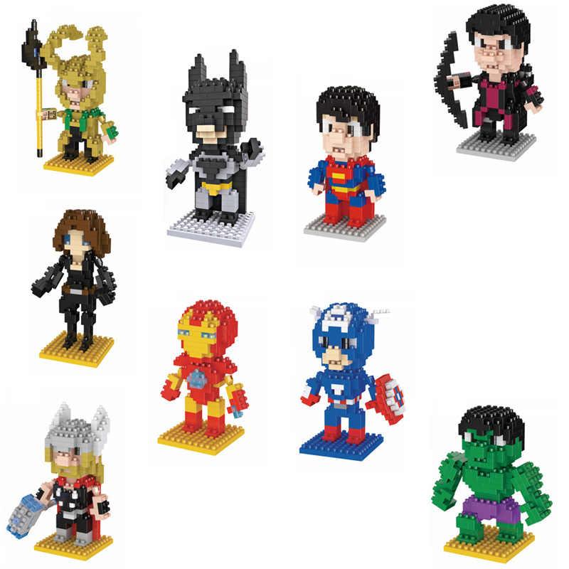 Super heroes mattoni dc marvel nanobricks batman superman ironman capitan america thor hulk thor loki micro blocco di diamante giocattoli