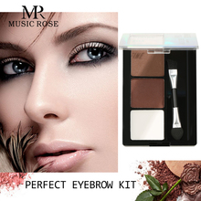 MUSIC ROSE 3 Colors/set Eyebrow Powder Palette Cosmetic Professional kit Enhancer Waterproof Makeup Brow Tint Women Gift