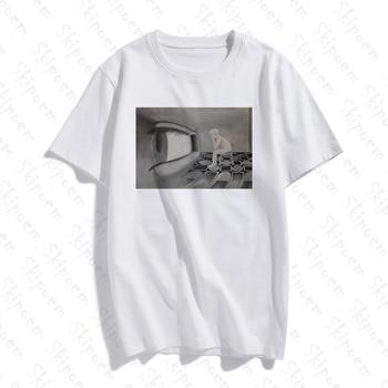 Abstract Surreal Eye Soul Tshirt Women Aesthetic Punk Harajuku Korean Style Plus Size Cotton Short Sleeve Streetwear Clothes Top