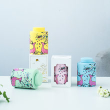 Tea pot color modern home ceramic storage tank small fresh flower tea sealed jar gift box(China)