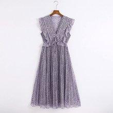 2020 Summer New Sleeveless Print Pleated zaraing women Dress sheining vadiming f