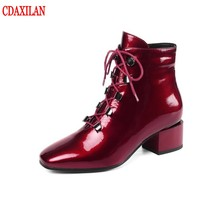 CDAXILAN new to womens ankle boots patent leather afbric square heels cross bind Martin boot size zipper motorcycle winter