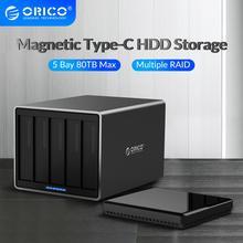 ORICO serii NS 3.5 cal 5 Bay typu c z RAID obudowa dysku twardego aluminium 5 gb/s stacja dokująca HDD wsparcie 80TB Haid dysk obudowa HDD