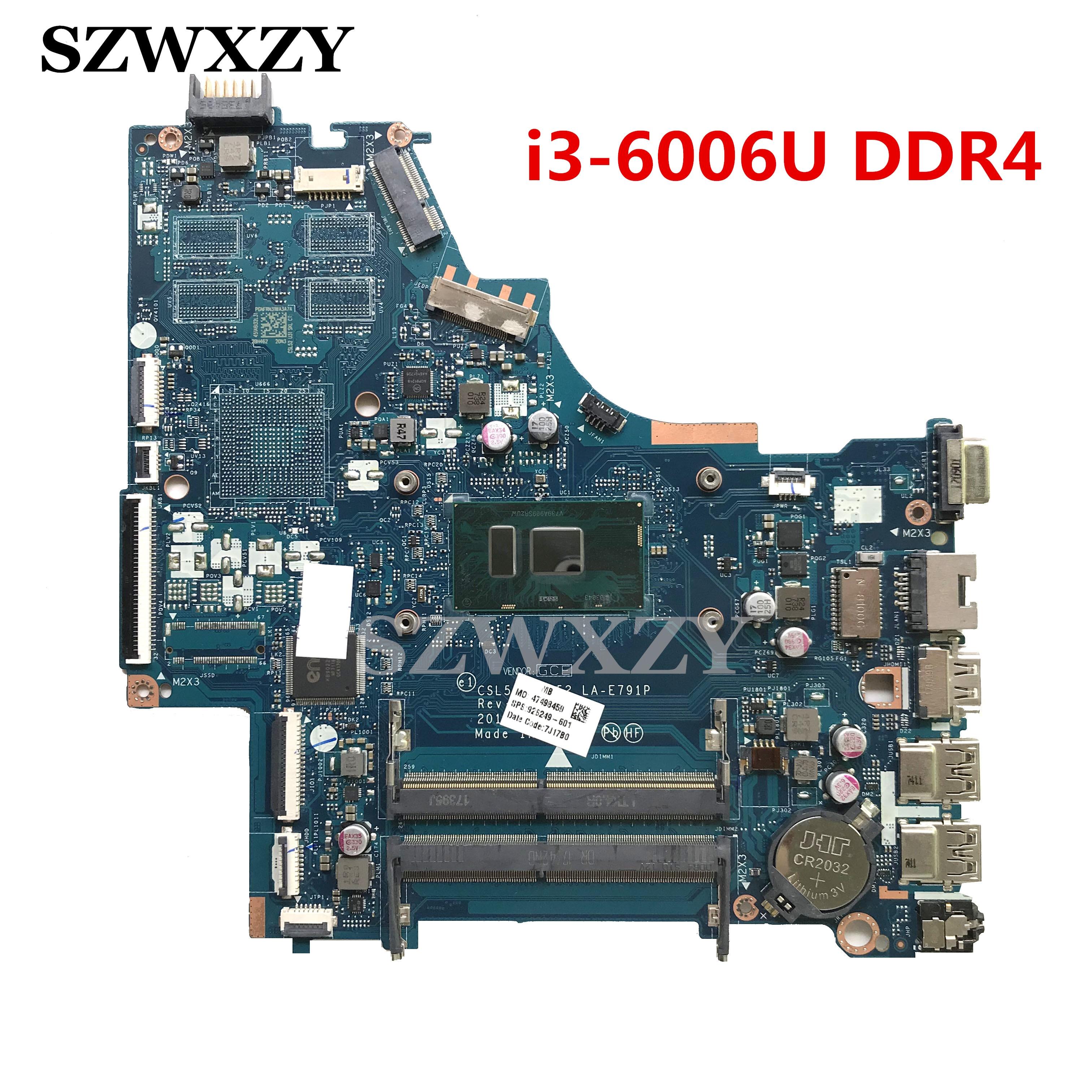 LA-E791P Per HP 250 G6 15-BS Scheda Madre Del Computer Portatile 926249-601 926249-501 926249-001 SR2UW i3-6006U Processore DDR4