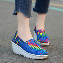 Fashion casual shoes women sneakers 2019 new breathable woven shoes woman wedges platform sneakers women shoes tenis feminino shoes woman 2020 pu leather breathable sneakers women shoes waterproof wedges platform shoesladies casual shoes women sneakers