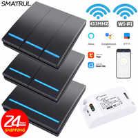 SMATRUL Tuya Smart Leben APP WiFi 1/2/3 Gang push-Schalter Licht RF 433Mhz Wand DIY Relais Timer Modul Google home Amazon Alexa