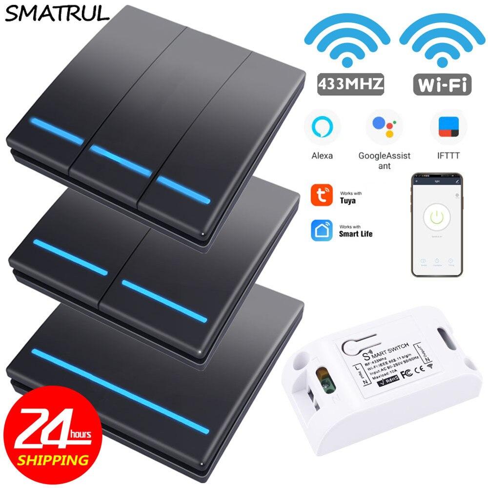SMATRUL Tuya Smart Life APP WiFi 1/2/3 Gang  Push Switch Light RF 433Mhz Wall DIY Relay Timer Module Google Home Amazon Alexa