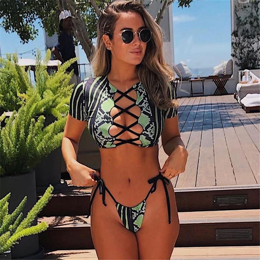 Bikini Swimwear Women Short Sleeve Snake Print Bikini 2020 Female Swimsuit Stripe Two-pieces String Bikini Set Bathing Suit