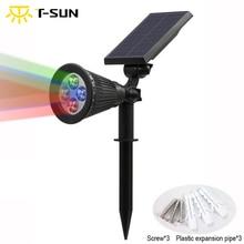 T SUNRISE dış aydınlatma 4 LED güneş enerjili ışık ayarlanabilir LED güneş peyzaj lambası bahçe için RGB renk