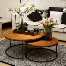 Tea Table Vintage Wrought Iron Solid Wood Table American Cafe Leisure Small Round Creative Small Round Coffee Table Tea Table simple tea table tea table balcony leisure small table