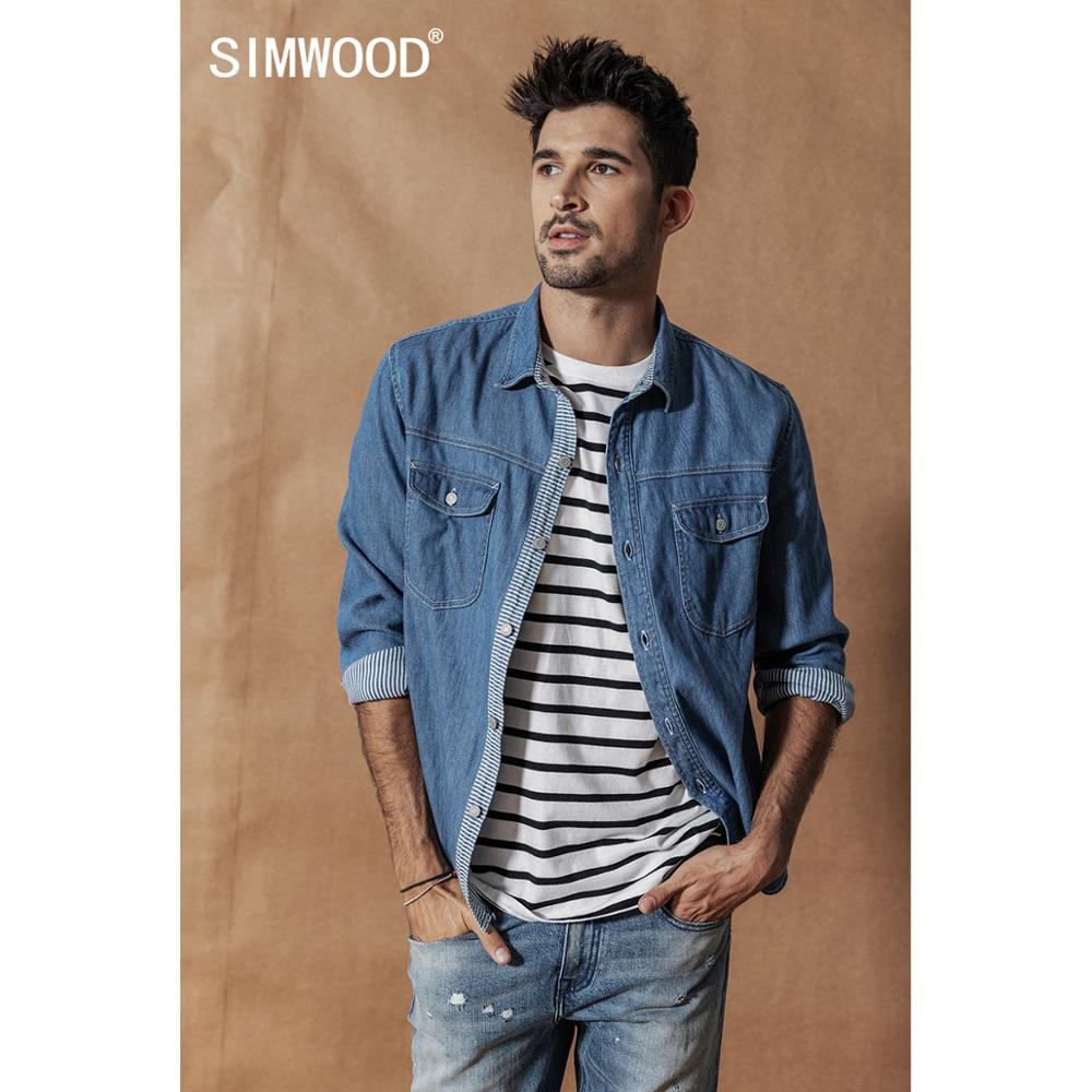 SIMWOOD Indigo Denim Shirts Men 2020 Spring Winter New Striped Inner Shirts Fashion 100% Cotton Texture Shirt Plus Size 190420