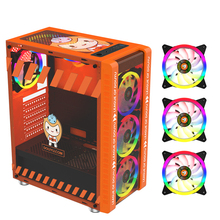 Transparent Computer Case ATX Supports RGB Light Effect Gaming PC Host Tempered Glass Micro ATX Tower With 3 12*12cm RGB Fans