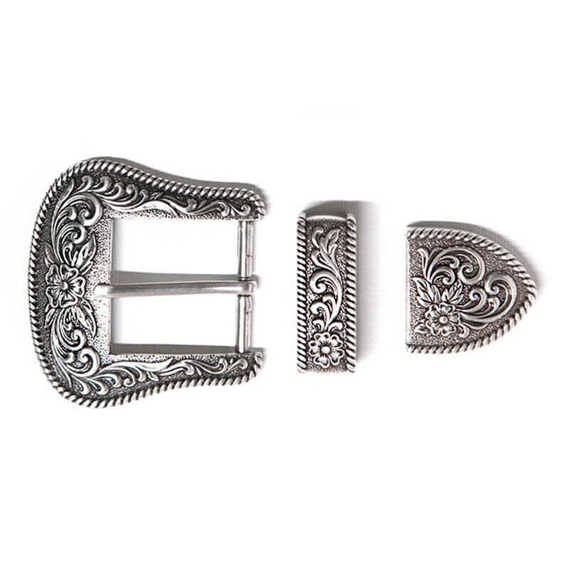 2019 Women Men Western Retro Floral Engraved Silver Plated Belt Buckle Set 3Pcs Fits 38mm Belt Classic Jeans Pants Decoration