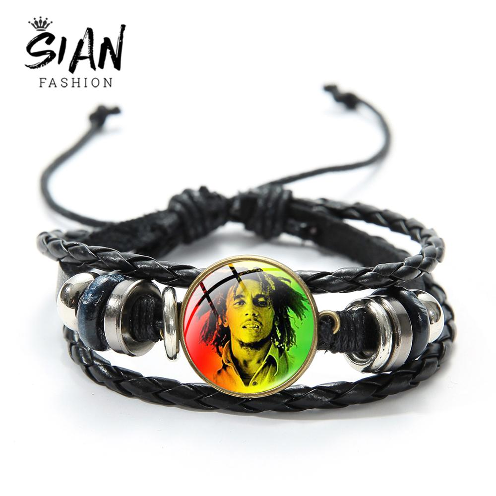 SIAN Reggae Singer Bob Marley Bracelet Men Hot Jamaica Music Star Casual Leather Bracelets Glass Dome Multilayer Woven Wristband image