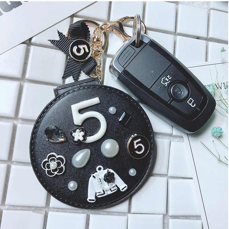 Kreative Blume Spiegel Keychain frauen Tragbare Make-Up Spiegel Keychain Auto Tasche Anhänger Handgemachten Schmuck