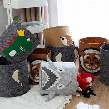Bolsa de almacenamiento hazlo-tú-mismo para el baño de animales, Tigre, dinosaurio, tiburón, lana, fieltro, organizador de ropa y juguetes, decoración para habitación de niños, accesorios para fotos