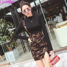 2019 new Korean women's camouflage strap dress + long-sleeved knit bottoming shirt two-piece suit