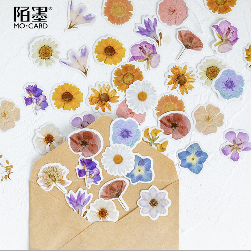 46pcs/box Vintage Flower Poem Greeting Envelope Seal Stickers Decorative DIY Stickers