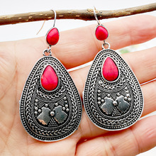 Vintage Pendant Natural Turquoises Earrings for Women Antique Silver Water Droplets Dangle Earring Fashion Boho Jewelry 2019