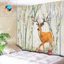 Boho Decoration Home Decor Anime Elk Forest Tapestry Mandala Wall Hanging Psychedelic tapisserie murale tissus