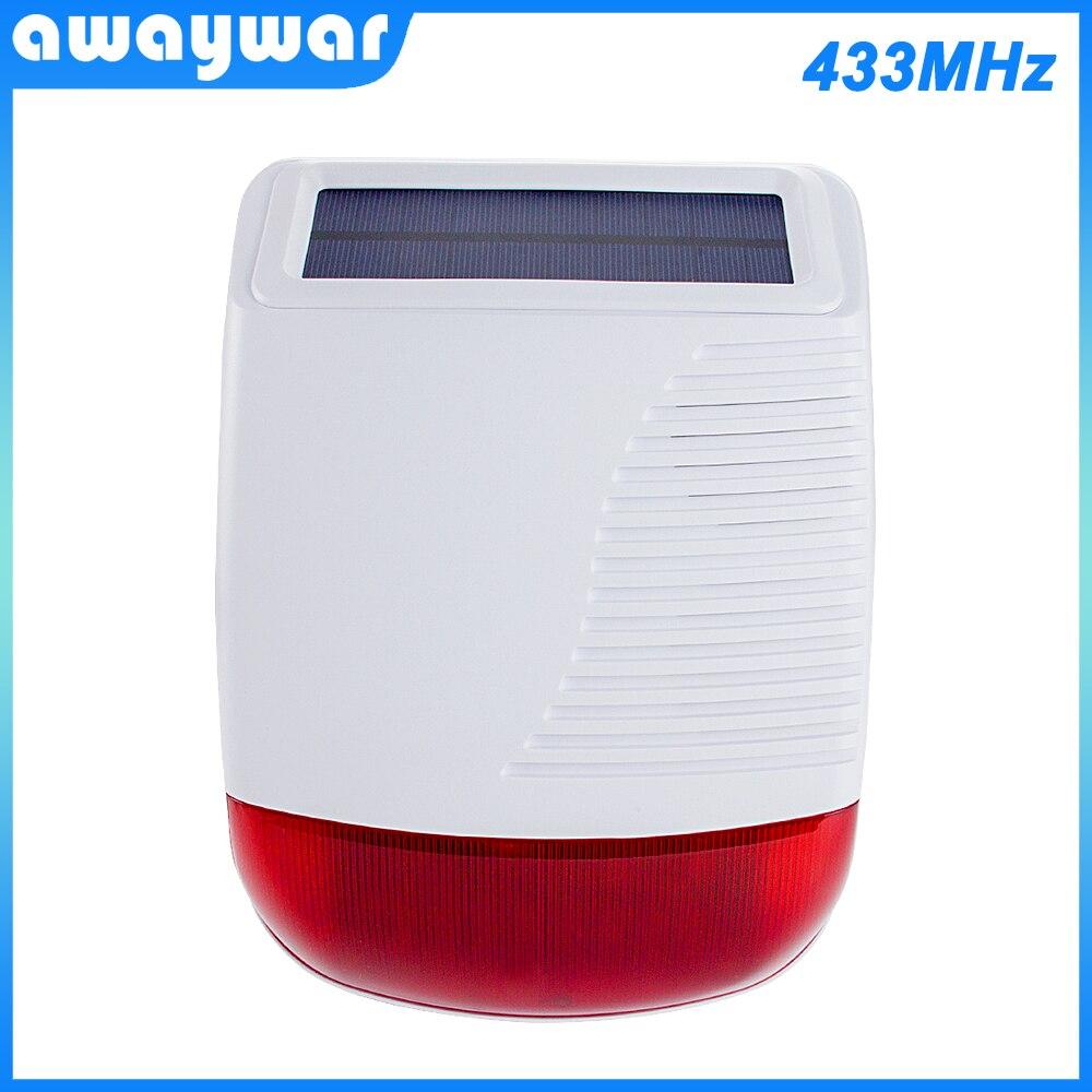 Awaywar New 433MHz Wireless Solar Outdoor Siren Light Flash Strobe Waterproof Alarm For Home   Security Alarm System Smart Burgl