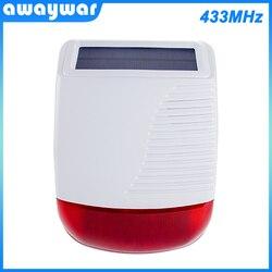 Awaywar nowy 433MHz bezprzewodowa słoneczna zewnętrzna syrena alarmowa lampa błyskowa stroboskop wodoodporny Alarm dla System alarmowy do domu Smart Burgl