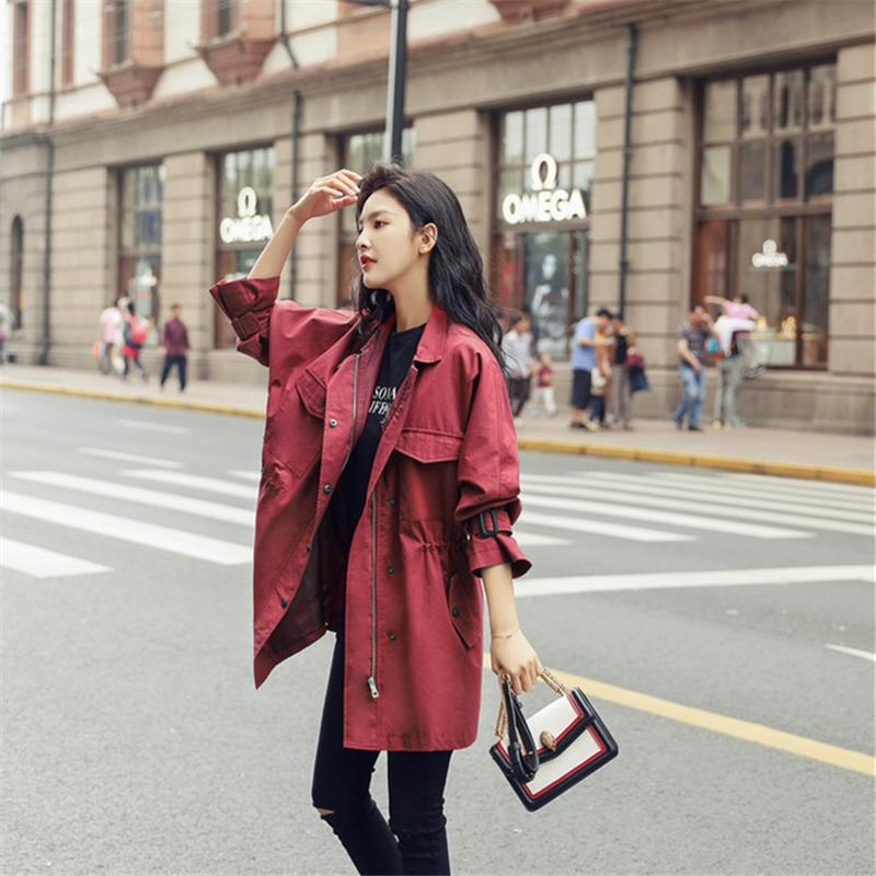 Women's   Trench   Coat 2019 Autumn Korean Fashion Loose Solid Zipper Tooling Medium-long Windbreaker Female Elegant Dust Overcoat