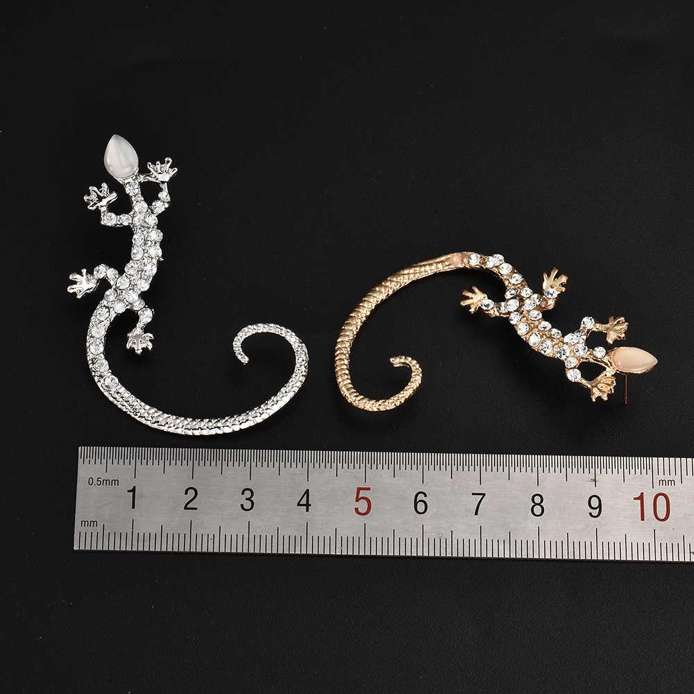 2015 ファッションレトロゴールド/シルバートカゲ耳カフイヤリングスーパーかわいいクリスタルクリップ女性のためのイヤリングアクセサリー ER461