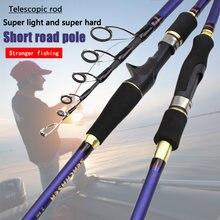 Rápido 1.8m 2.1m 2.4m 2.7m carbono fiação carcaça m potência telescópica vara de pesca isca vara 7-28g 12-25lb viagem haste de truta
