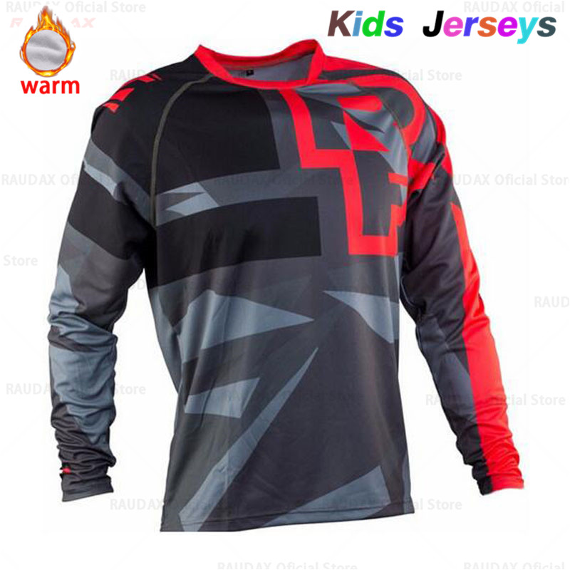 Kids Fleece Keep Warm Long Sleeve Cycling Jerseys MTB Boys Mountain Bike Clothing Motocross Jersey Downhil DH Cycling T-Shirt image