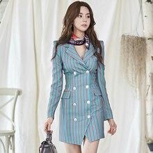 Plus Size Print Striped Blazer Dress Women Double Button Package Hip Bodycon Mini Dress Women Autumn Winter Dresses Women 2019