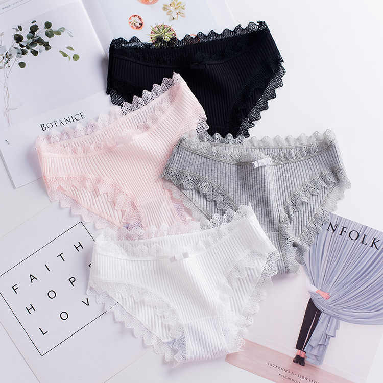 Explosions new thread cotton Japanese bow women's underwear solid color breathable waist size girls briefs plus size women
