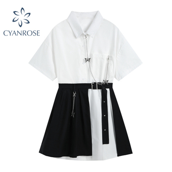 Vintage Gothic Dress Women White Short Sleeve 2021 High Waist Fake Two Pieces Goth Punk Streetwear Harajuku Dress Female Mujer 1