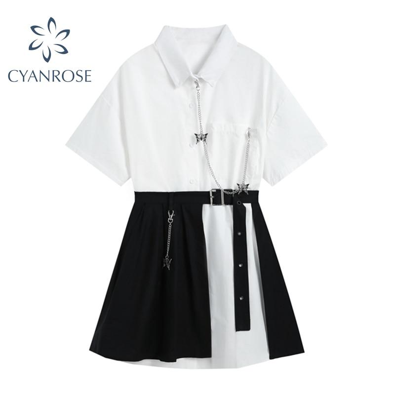 Gótico do vintage vestido de manga curta branco 2021 cintura alta falso duas peças goth punk streetwear harajuku vestido feminino mujer|Vestidos|   -