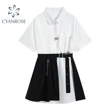 Gótico do vintage vestido de manga curta branco 2021 cintura alta falso duas peças goth punk streetwear harajuku vestido feminino mujer