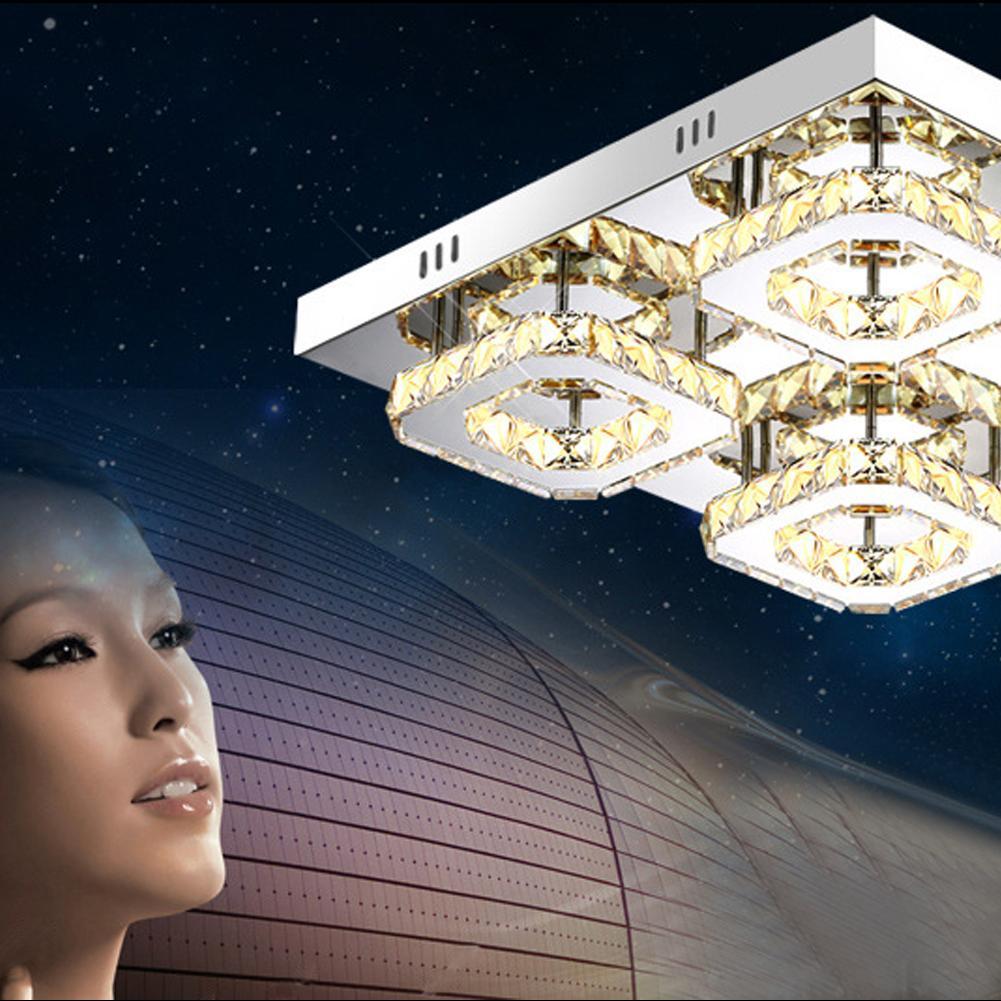 Neue Platz Kristall Decke Lampe Led Lampen High-power Edelstahl Led Decke Lampen 48W Led Lustre Beleuchtung decke Lichter