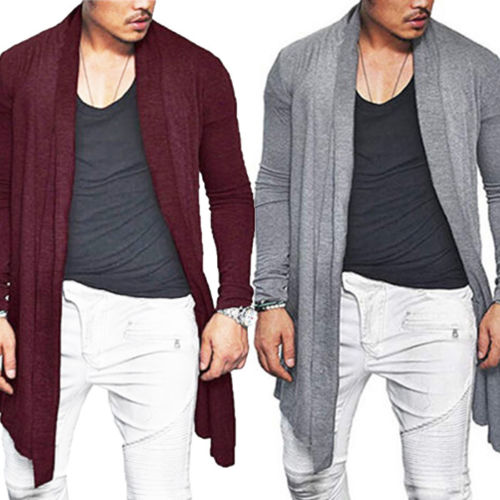 VICALLED Mens Long Cardigan Sweater Hooded Knit Slim Fit