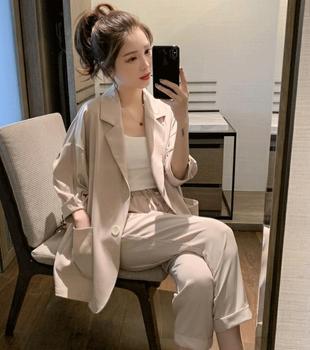 Women Spring Summer Pants Suits Two-Piece Set women casual Female Blazer Jacket & Trousers Slim Fit plus size ka910