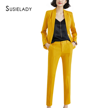 SUSIELADY Women's Suits Solid One Button Office La