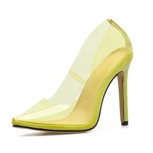 Image 5 - DiJiGirls zapatos mujer Casual 2020 Amarillo Neón sandalias Rojas PVC desnudo tacones delgados puntiagudos Pvc zapatos de moda Jeelly
