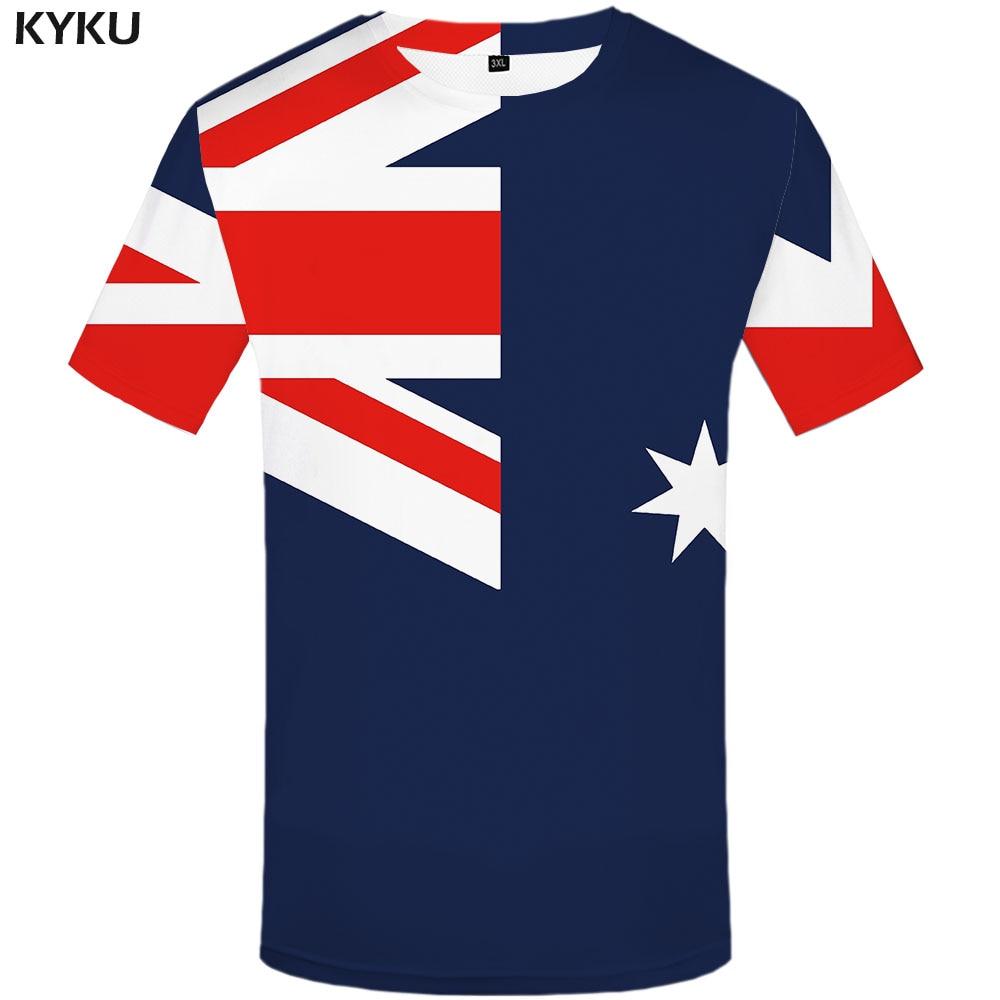 Funny T Shirts Australian Flag T-shirt Men Graffiti Tshirts Casual Australia T-shirts 3d Art Tshirt Printed Harajuku Anime Cloth