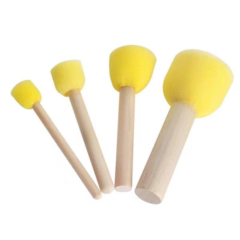 Kid Sponge Paint Brush Original Wooden Handle Painting Graffiti Early Toy DIY Art Supplies Gifts 4Pcs/set