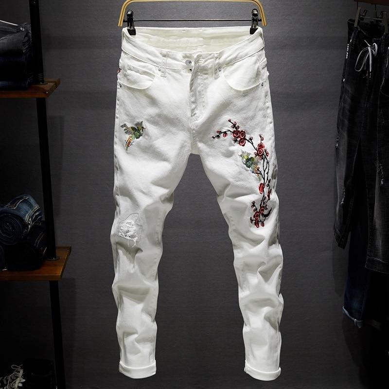 Flower Embroidered Jeans Men's Stretch Slim Fashion Retro Ripped Jeans Pants Men Streetwear Hip Hop Hole Denim Trousers Mens