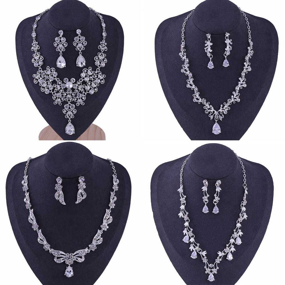 Jewelry-Set Earring Faux-Pearl-Necklace Crystal Rhinestone Bride Sliver-Plated Wedding